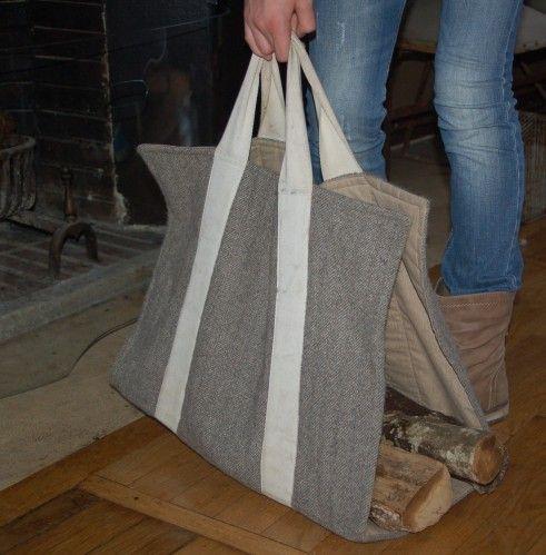 Un sac chic et utile pour rentrer le bois et qui en plus for Bureau qui ne prend pas de place