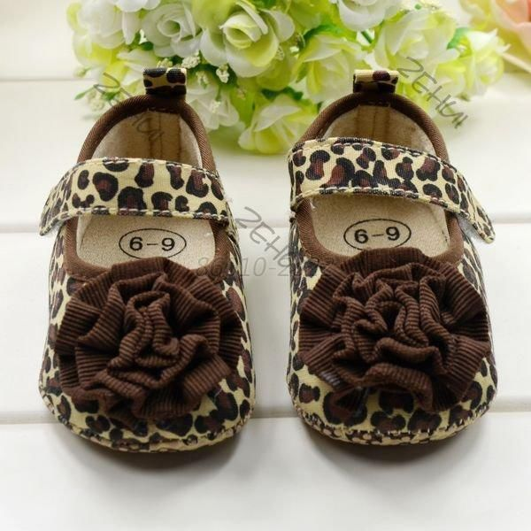 Fashion Kids Girl Leopard Baby Shoes Peony Flower Infant Toddler Crib Shoes 0-18months Mother & Kids Baby Shoes