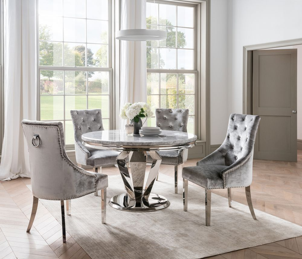 Vida Living Arturo Round Grey Marble Dining Table And Chairs