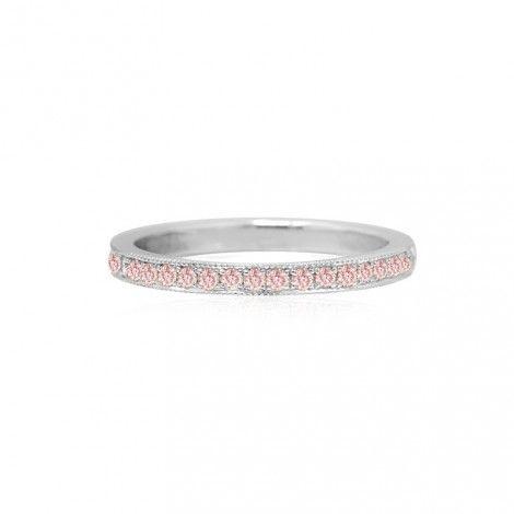c4db879ad Fancy Pink Diamond Half-Eternity Milgrain Wedding Band Ring in 18K White  Gold