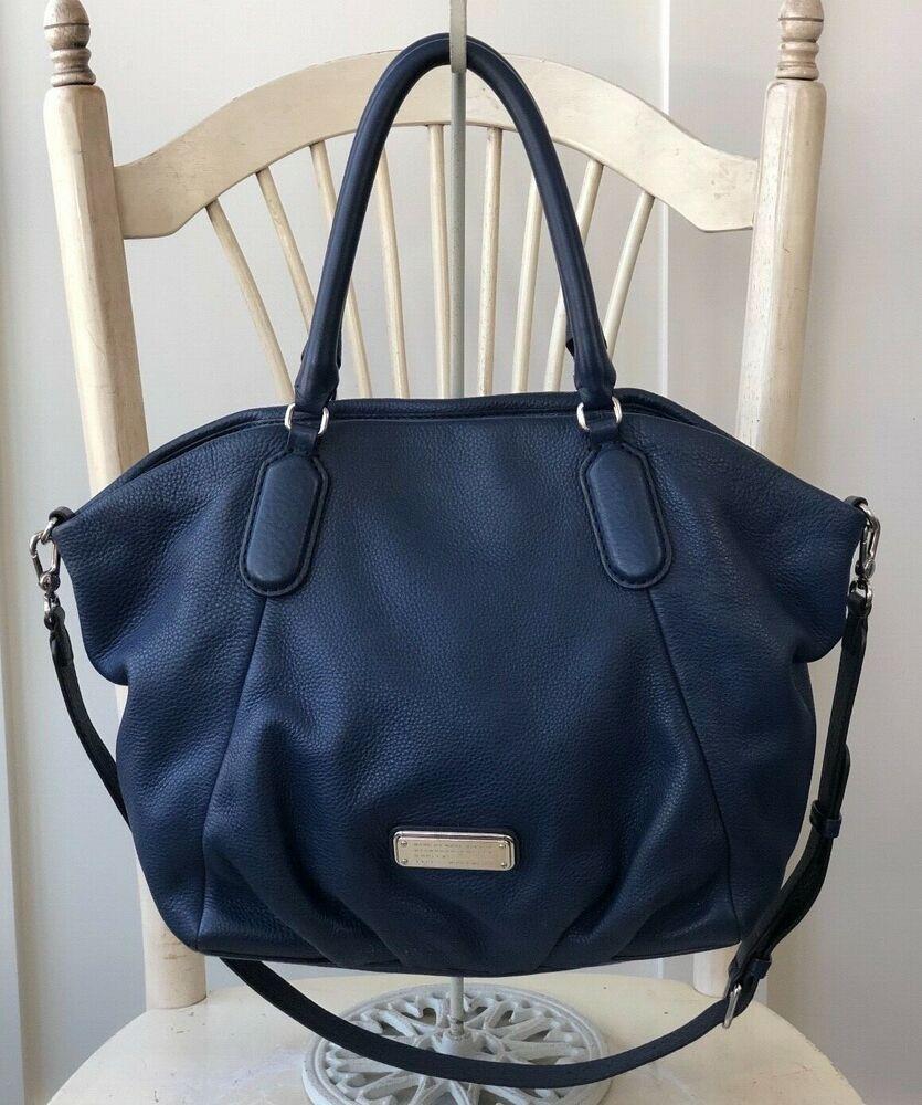 45585ff1193e MARC By MARC JACOBS New Q Fran Francesca Blue Leather Tote Hobo Handbag   448.00  MarcbyMarcJacobs