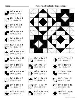 Factoring Quadratic Expressions Color Worksheet 4