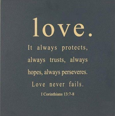 Merveilleux It Always Protects, Always Trusts, Always Hopes, Always Perseveres. Love  Never Fails. 1 Corinthians One Of My All Time Favorite Verses