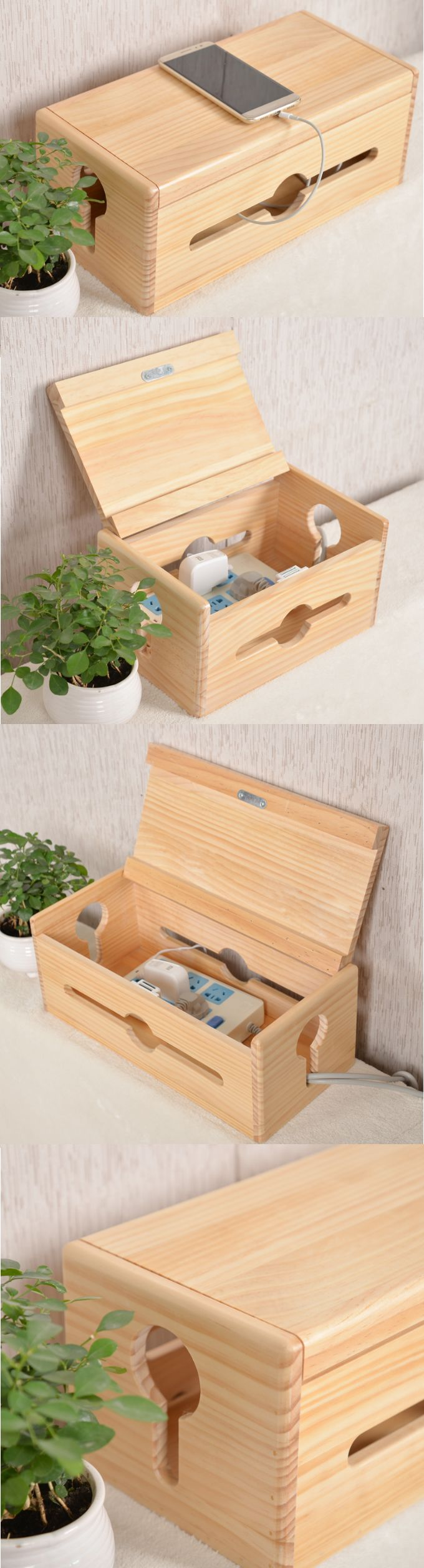 Bamboo Wooden Charge Cable Organizer Ipad Cell Phone Charging Station Dock Holder Cable Cord Organizer Cablebox Wire S Cable Organizer Wooden Cord Organization