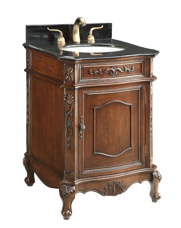24 Inch Adelina Antique Bathroom Vanity Black Granite Top With