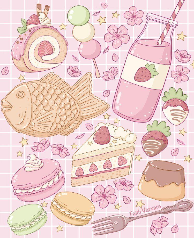 Sweet Treat Tote Bag in 2020 Cute food drawings, Kawaii