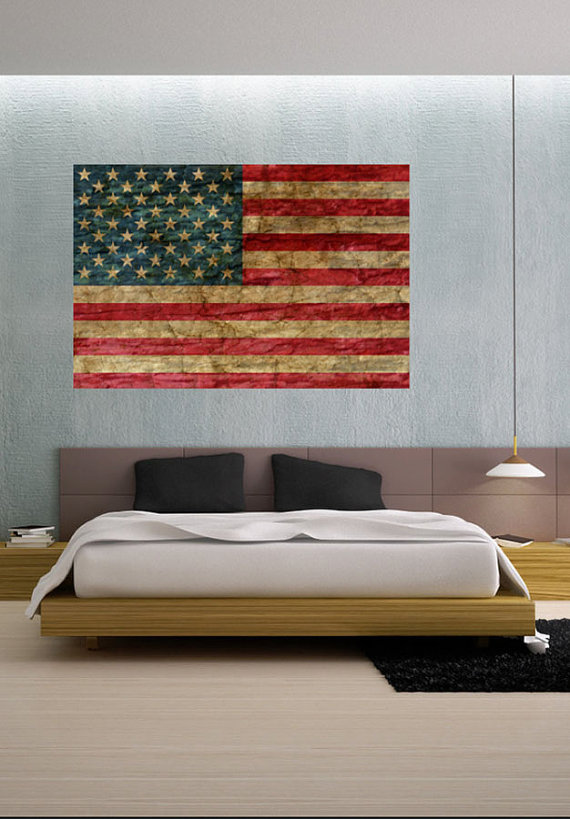 Charming Faded Rustic American Flag Landmark   Vinyl Wall Decal Full Color Sticker  Decor Removable Art Mural Www.uBerDecals.ca B313 | Flags, Wall Decals And  Walls