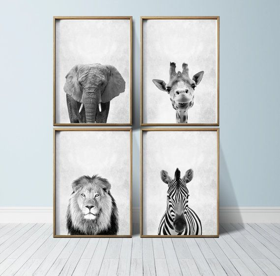 Set 0f four prints safari animals black and white prints abstract prints abstract wall art modern art poster geometric wall art archival quality