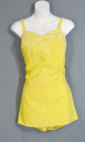 c1880dce3f Tina Leser Gabar 1960s swimsuit or playsuit with elastic leg bottoms under  skirt with 10