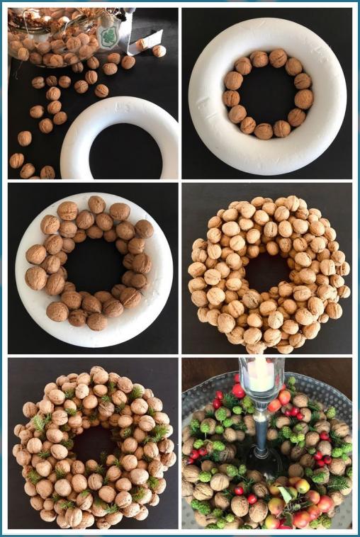 DIY: Nusskranz (Deko) - Chalet8 - Herbst Dekoration Tischdekoration #Chalet8 #Deko #DIY #herbst dekoration tischdekoration holz #Nusskranz