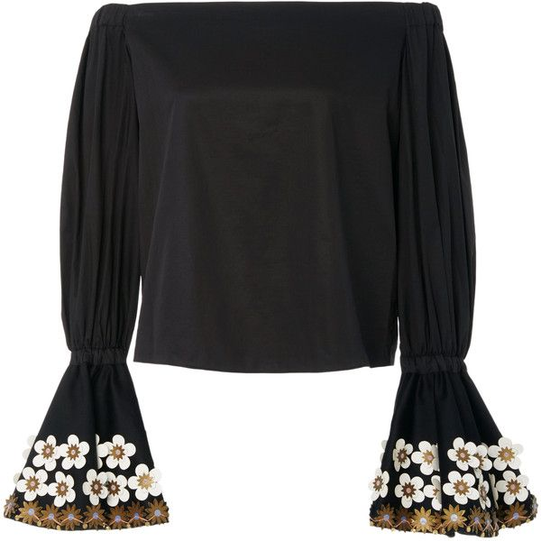 2a498c66e9e23 Alexis Juniper Off the Shoulder Black Top (€610) ❤ liked on Polyvore  featuring tops