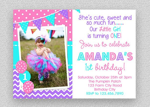 Girls St Birthday Invitation Purple Pink Turquoise Birthday - 1st birthday invitations girl purple