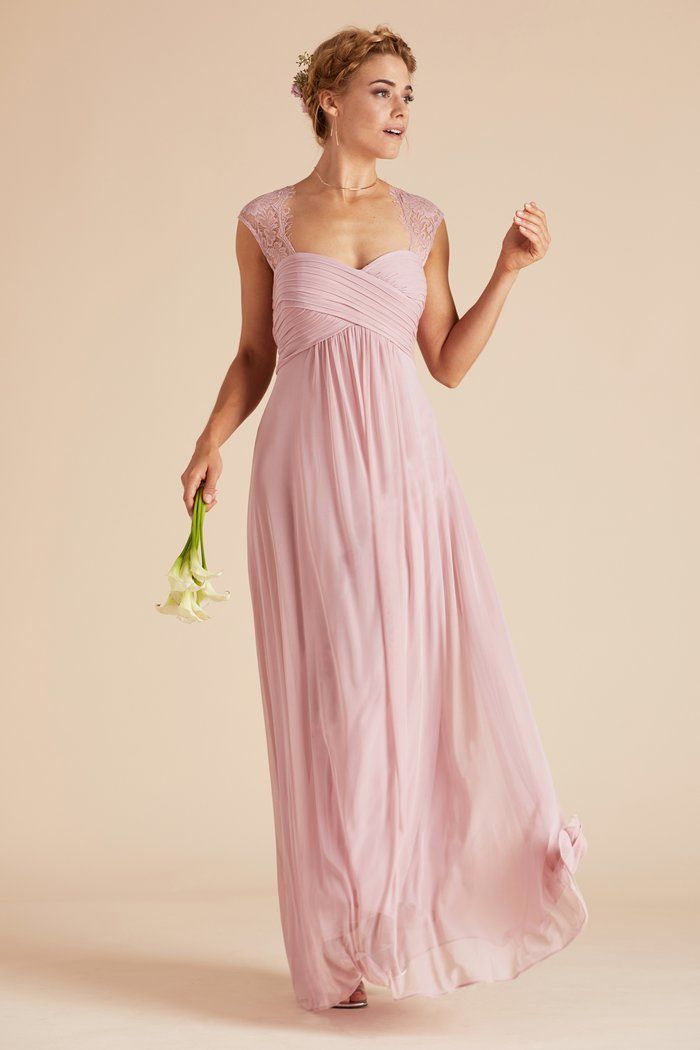 cfac6f44cd77f Mary bridesmaid dress with vintage lace straps and romantic cutout back.  Empire waist. By Birdy Grey. Under $100