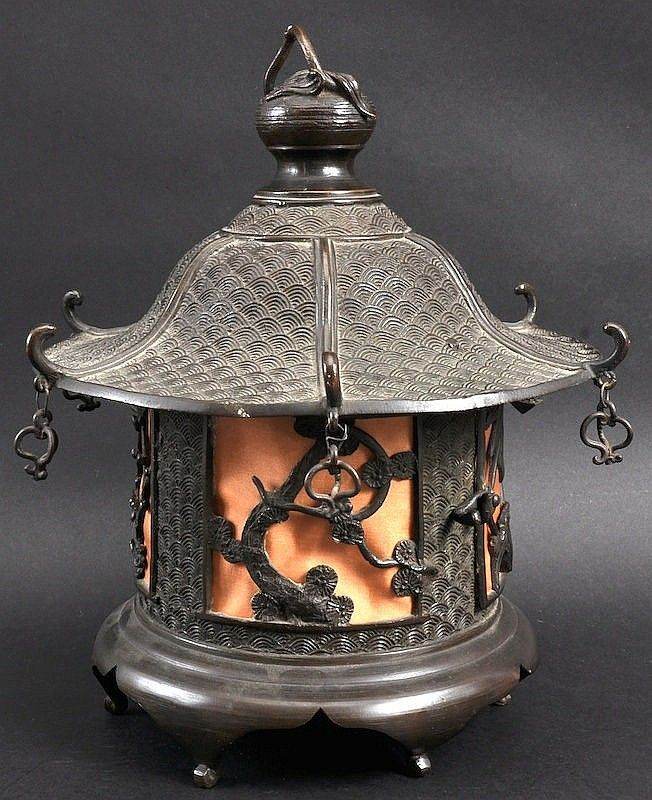 Buy Antique Handcrafted Buddha Lantern For Corporate: A 19TH CENTURY JAPANESE BRONZE HANGING LANTERN. Good