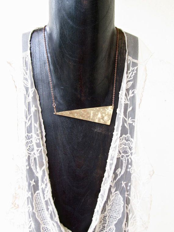 NEW ITEMGeo Collection Brass Tri Necklace Made to by LairaLou, $38.00