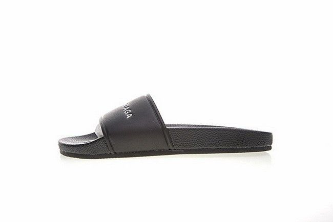 Unisex Balenciaga Logo Leather Slip-On Sandals Black White 500573 WAL001006 1029cf82b5