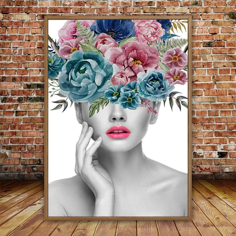 Fashionable Flowers Portrait Figure Art Beauty Fashion Posters