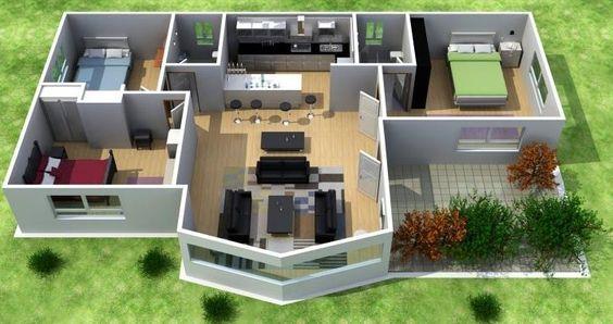 planos de casas con 3 dormitorios y dos baños, de una planta (80 - conception de maison 3d
