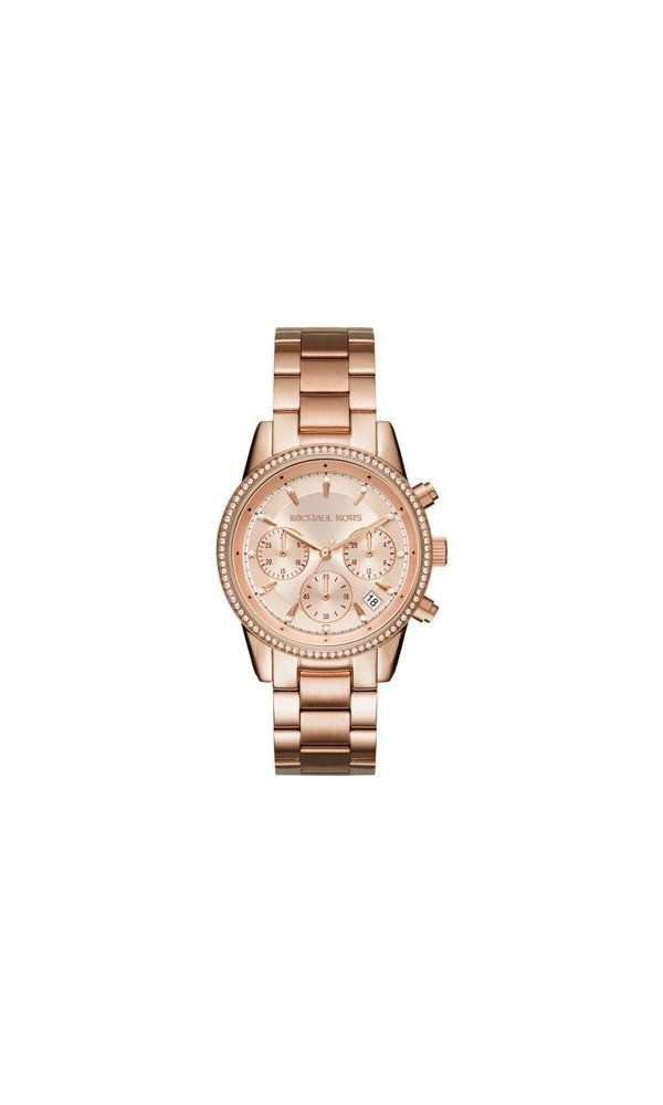 51dafdf49285 250  - Michael Kors Women s Ritz Rose Gold-Tone Watch MK6357 from Michael  Kors- A pav crystal topring and crystal-accented indexes add a feminine  finishing ...