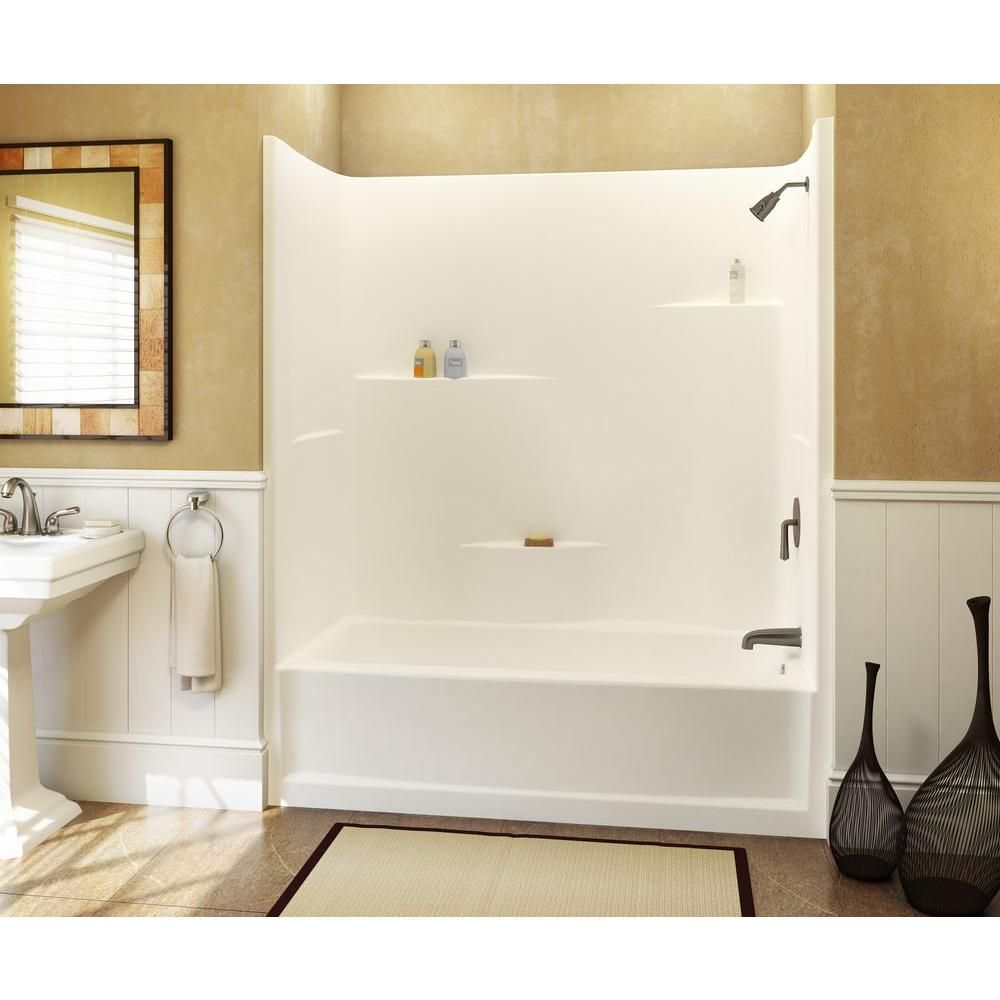 Aquatic 60 In X 30 In X 72 In 1 Piece Direct To Stud Tub Wall In White 260330spcr Wh The Home Depot Fiberglass Shower Stalls Fiberglass Shower Shower Kits