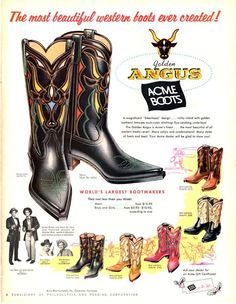 99df212a37f Vintage Acme Cowboy Boots ad, c. 1964. | Cowboy Boots Spurs ...