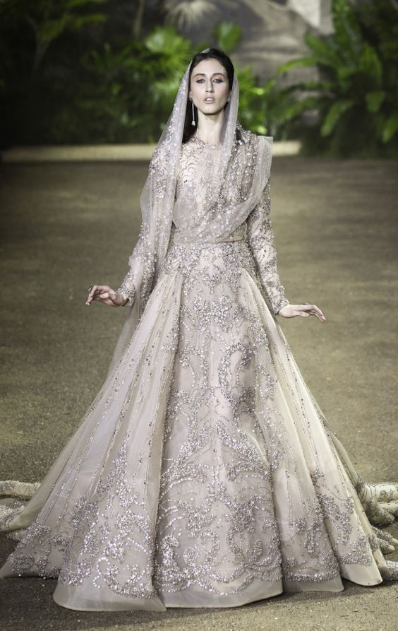 Luxury Silver Embellished Long Sleeve Wedding Dress Featured Elie Saab