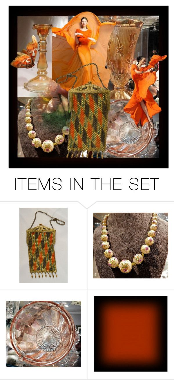 """""""Orange You Glad It's Friday ?"""" by pattysporcelainetc ❤ liked on Polyvore featuring art, vintage and country"""
