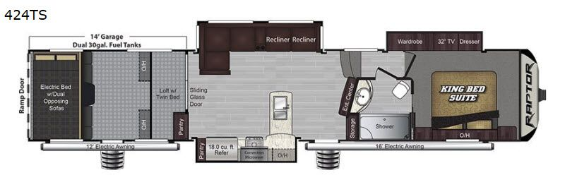 New 2019 Keystone Rv Raptor 424ts Toy Hauler Fifth Wheel At Nielson Rv Hurricane Ut Rap0048 Toy Hauler Keystone Rv Toy Hauler Rv