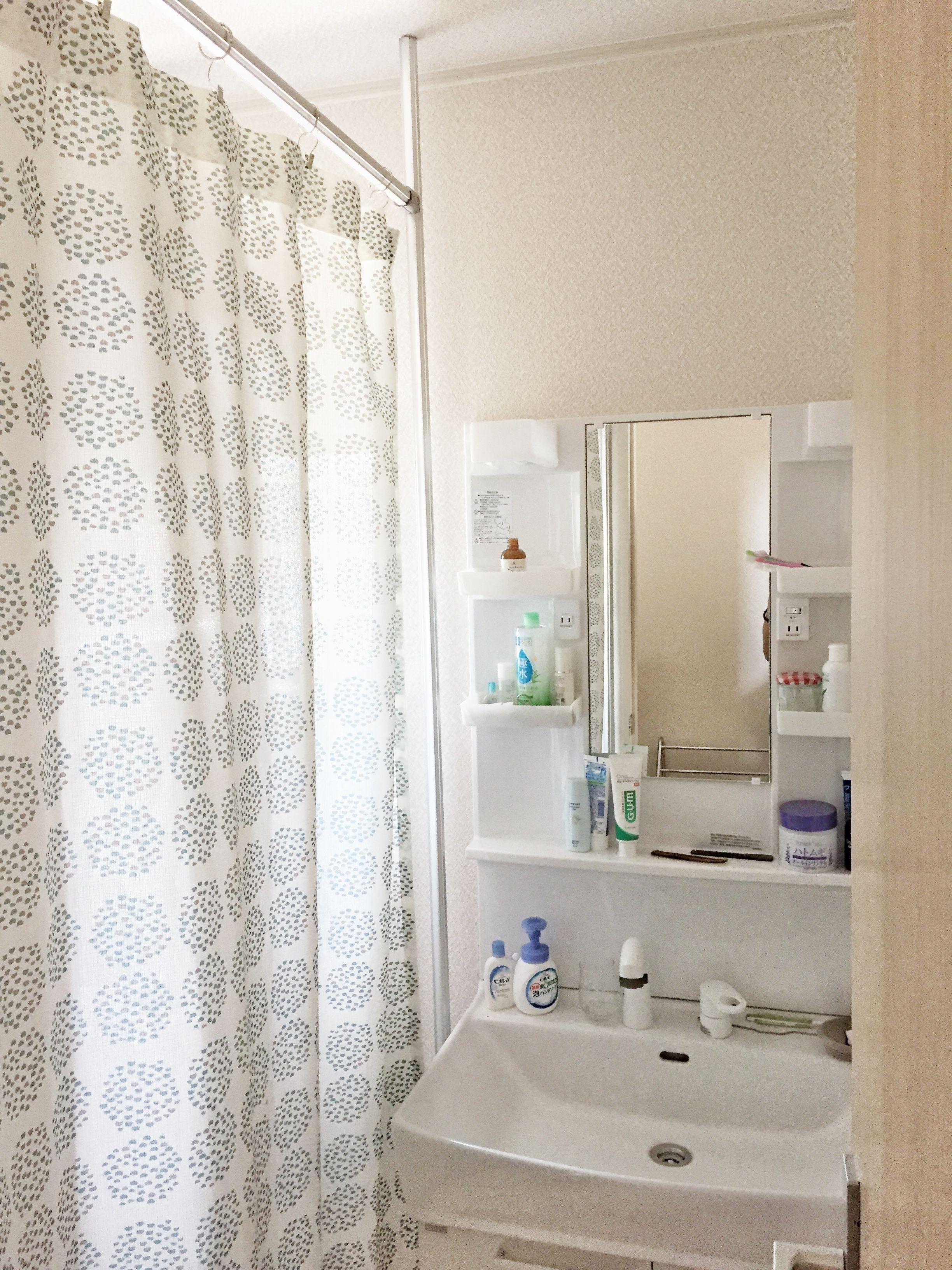 突っ張り棒を使わずに洗面室をシンプルに見せるカーテンをdiyしました