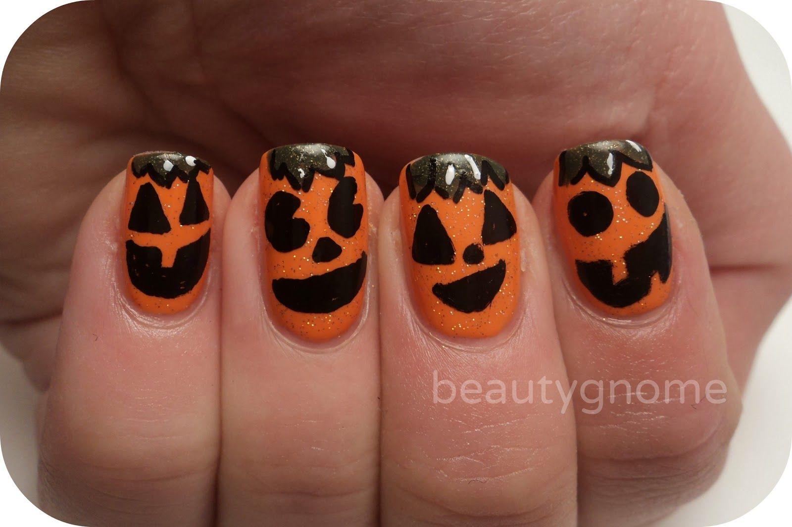 BeautyGnome: Jack-o-Lantern Nail Art featuring Zoya Nail Polish in ...