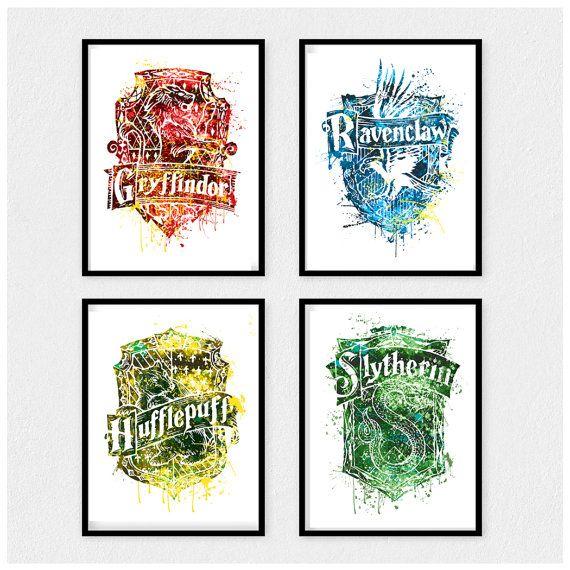 Sale Harry Potter House Crest Prints Harry Potter House Prints Set Of 4 Gryffindor Print Huffl Harry Potter Houses Crests Harry Potter Houses Dorm Wall Art