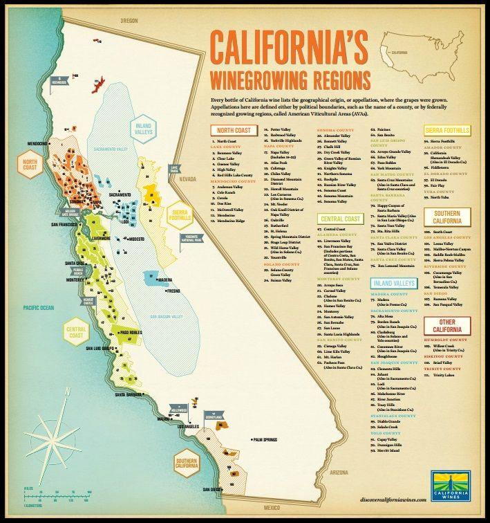 California Wine Country Map Travel to the Heart of the California Wine Country: California