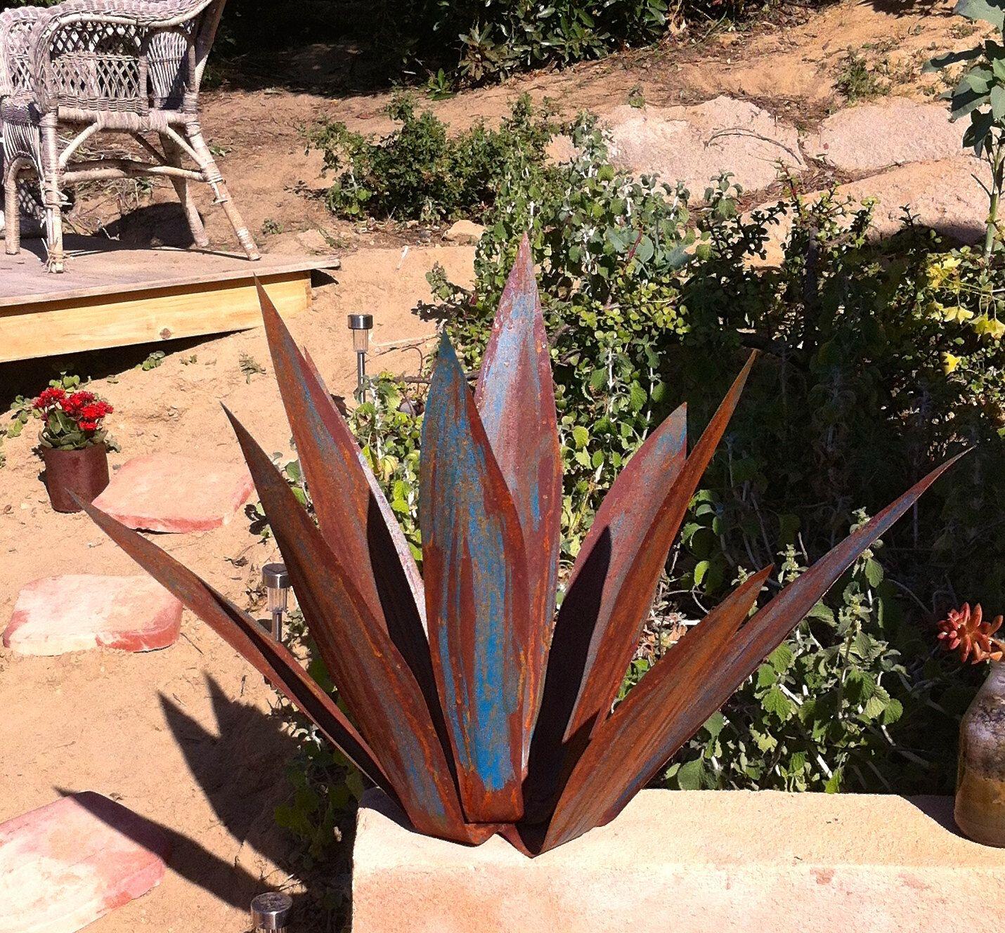 rusty blue tequila agave, metal yard art, metal garden sculpture
