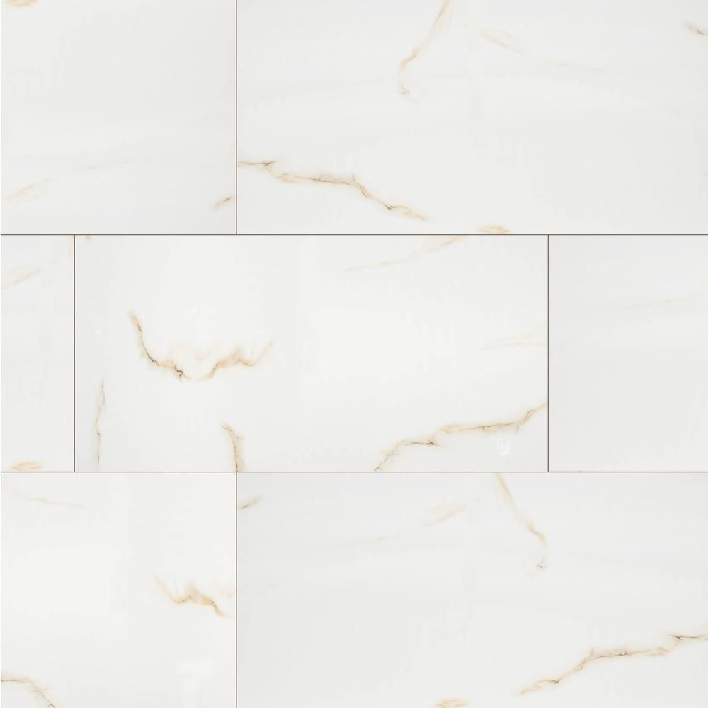 MS International Aria Bianco 12 in. x 24 in. Polished Porcelain ...