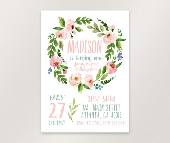 Boho Birthday Invitation, Floral First Birthday Invitation, Girl 1st - invitation card for ist birthday