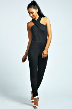 Boohoo cross front jumpsuit (get more of the cross-front look here --> http://chicityfashion.com/cross-front-tops/)