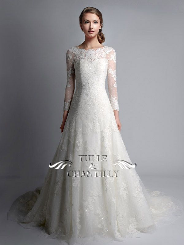 Vintage Bateau Neck Long Sleeves Lace Wedding Gown TBQWC024 | Lace ...