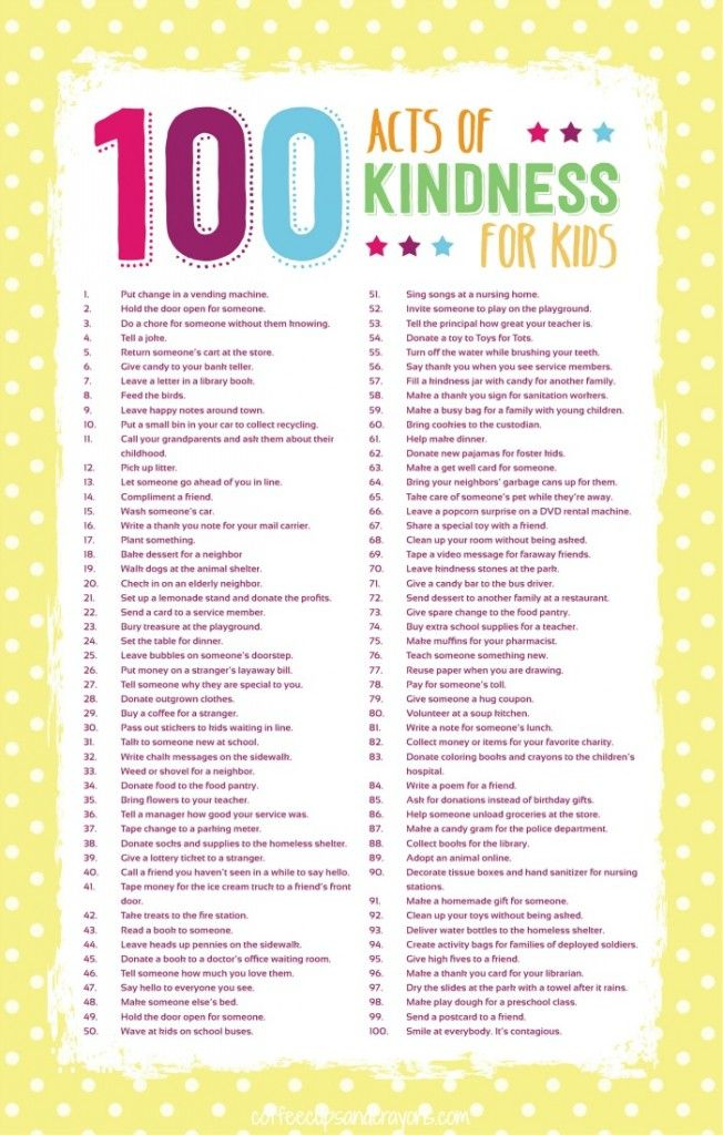 100 Acts Of Kindness For Kids Girl Scout Leader Pinterest