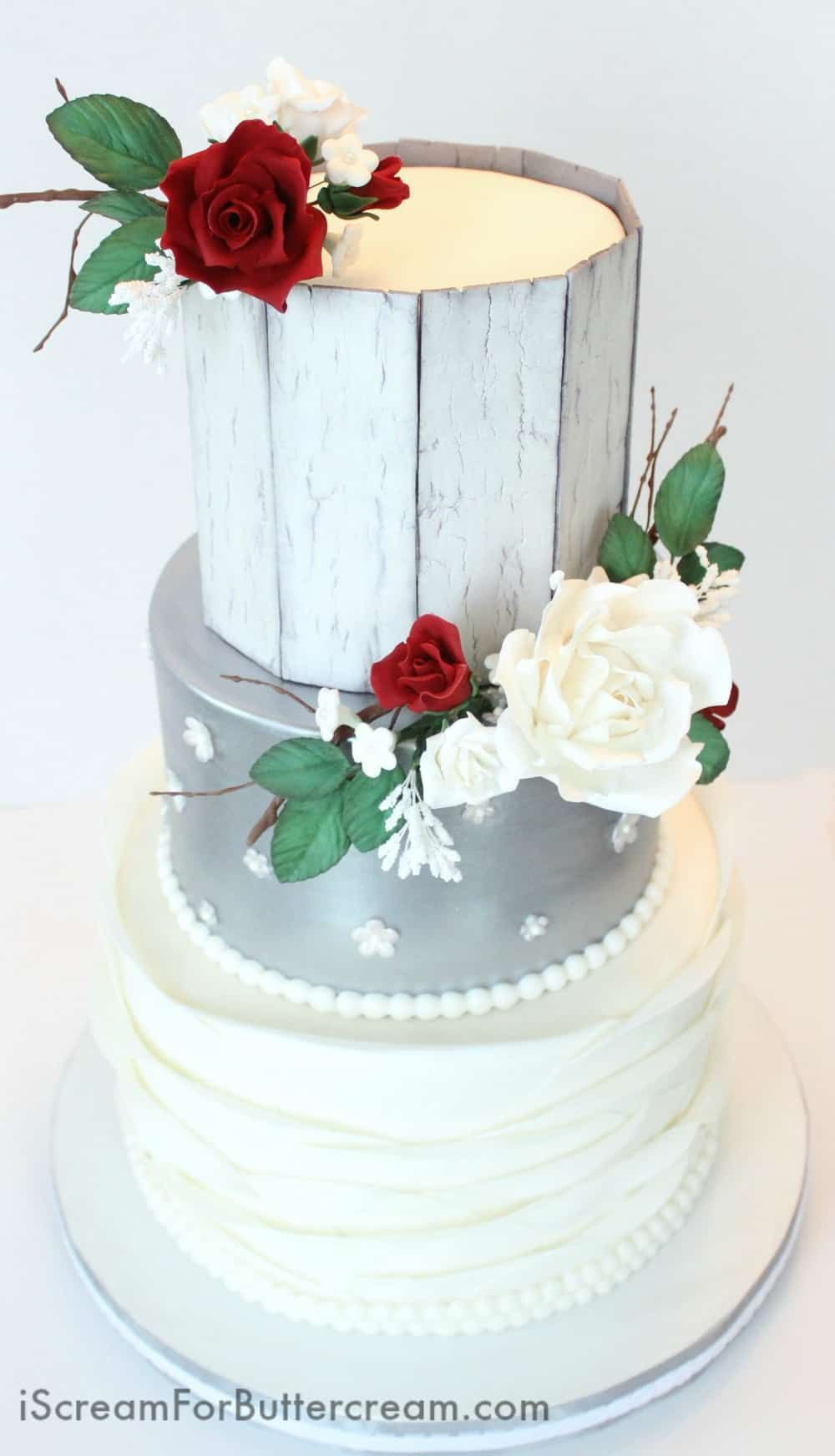 Elegant Rustic Silver Wedding Cake | Pinterest | Wedding cake, Cake ...