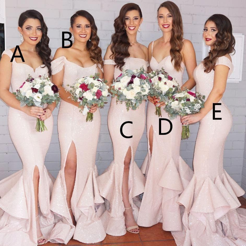 Light pink sequin sparkle long mermaid cheap bridesmaid dresses