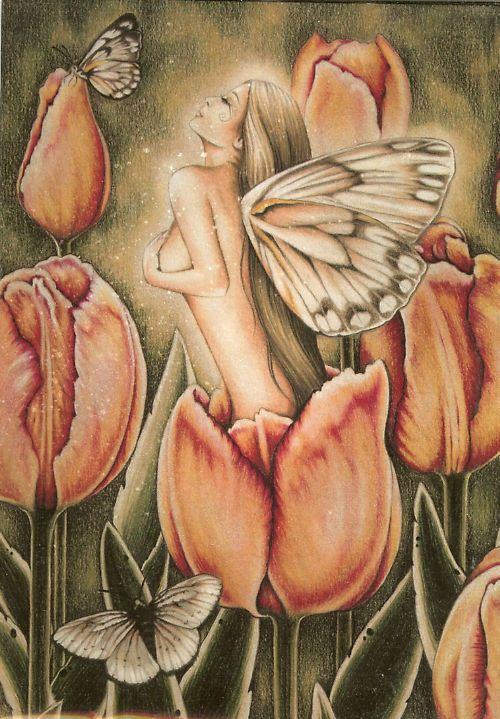 jessica galbreth   Jessica Galbreth Greeting Card Arrival of Spring Fairy Faery Tulip ...