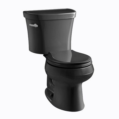 Kohler Wellworth Two Piece Round Front 1 28 Gpf Toilet With Class Five Flush Technology And Right Hand Trip Lever Finish Black Black Kohler Toilet Water Sense