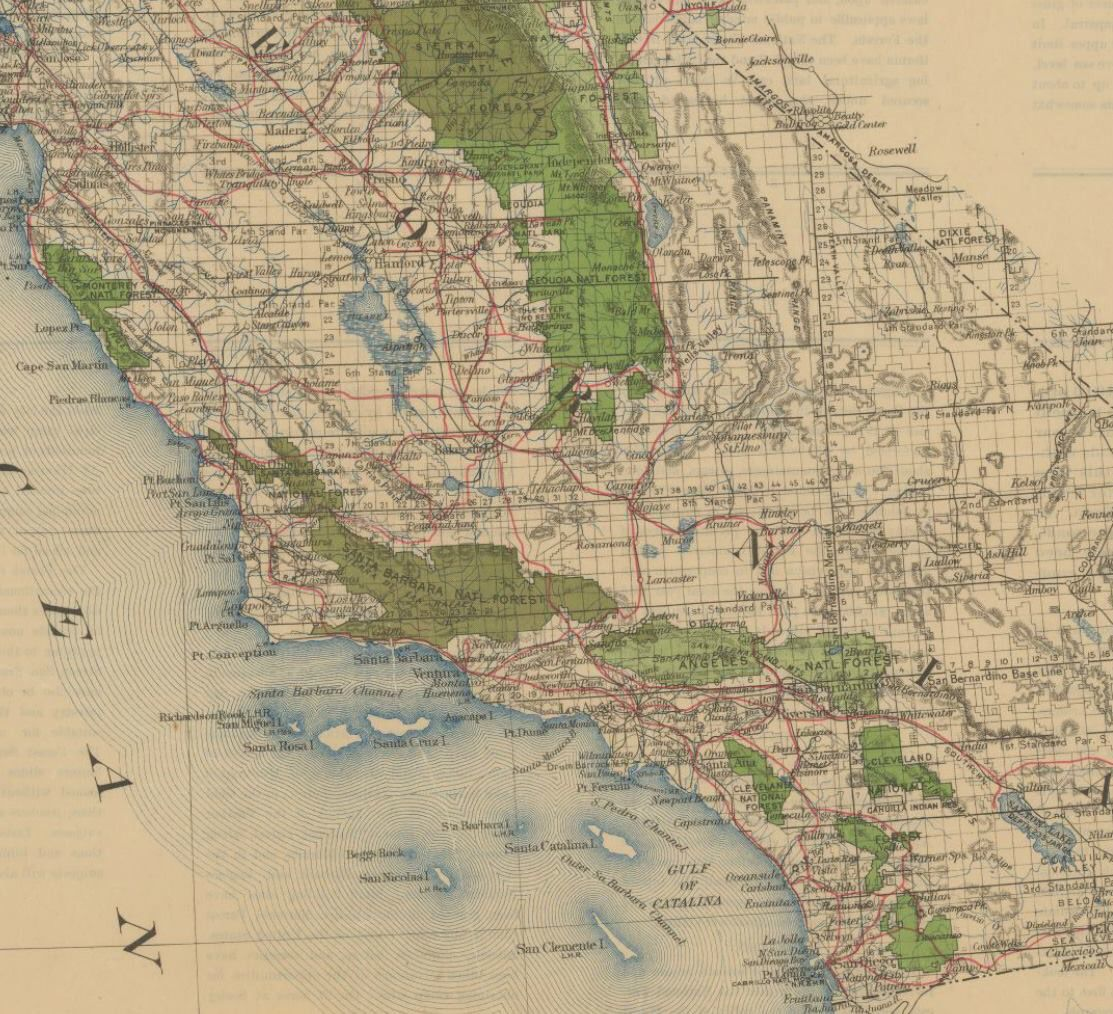 Santa Barbara National Forest, ca. 1913 | Super Map Geek ... on des moines new mexico map, goleta zip code map, corona street map, central california road map,