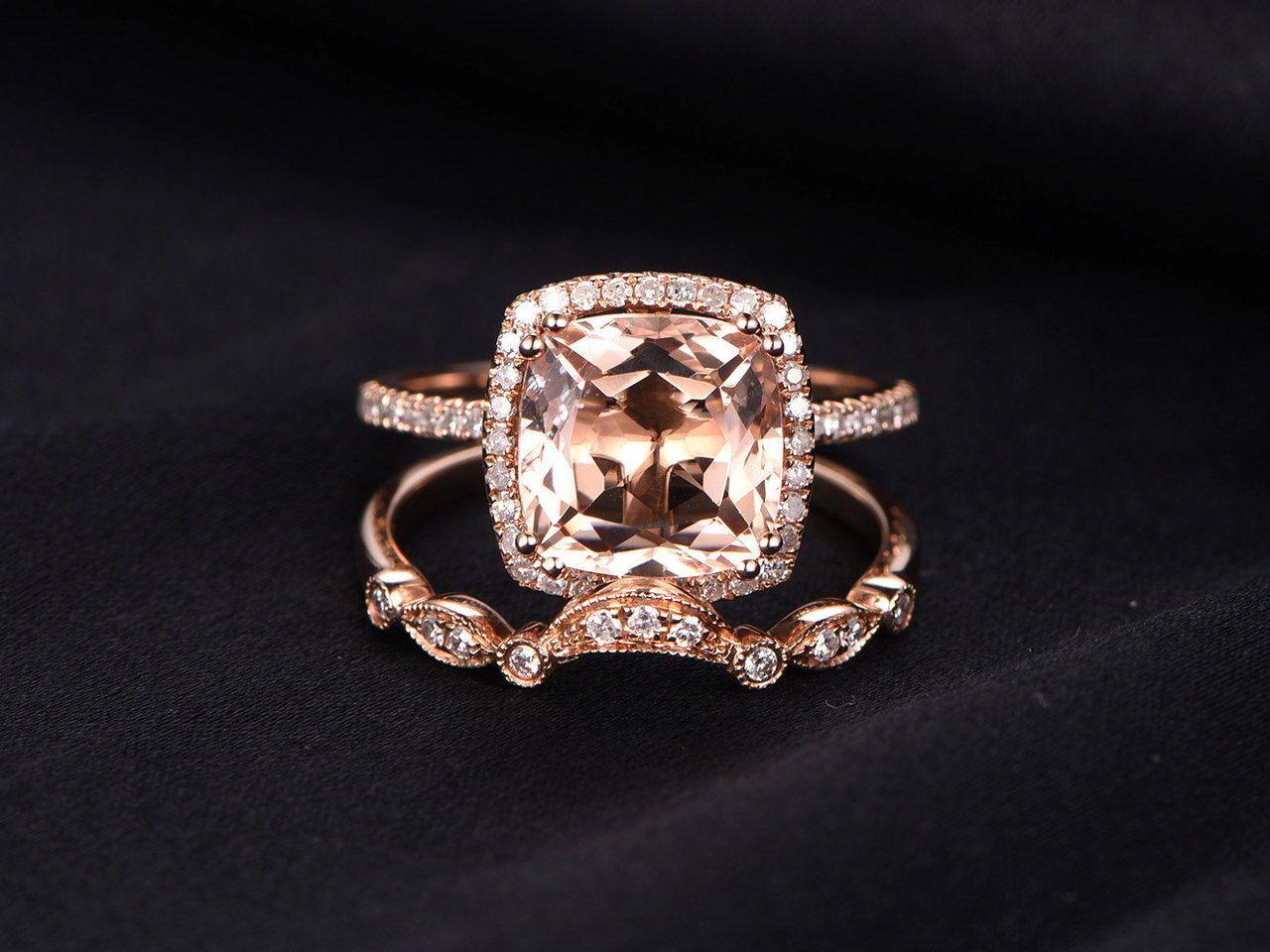Morganite Wedding Sets Diamond Wedding Sets Morganite Wedding Rings Bridal Ring Sets