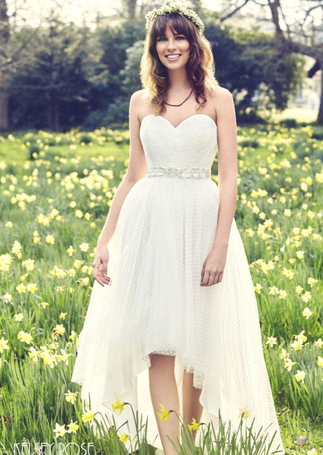 Kelsey Rose White Label high-low hem dress £660, Hinxworth Bridal hinxworthbridal.com