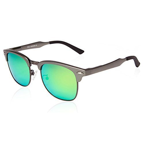 e19790413052 SUNGAIT Classic Half Frame Clubmaster Sunglasses with Polarized Lens  Gunmetal Frame Green Lens     Details can be found by clicking on the image.