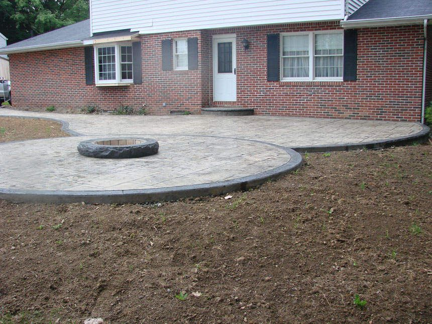 Grey Stamped Concrete Walkway And Fire Pit | Stamped Ohio Concrete