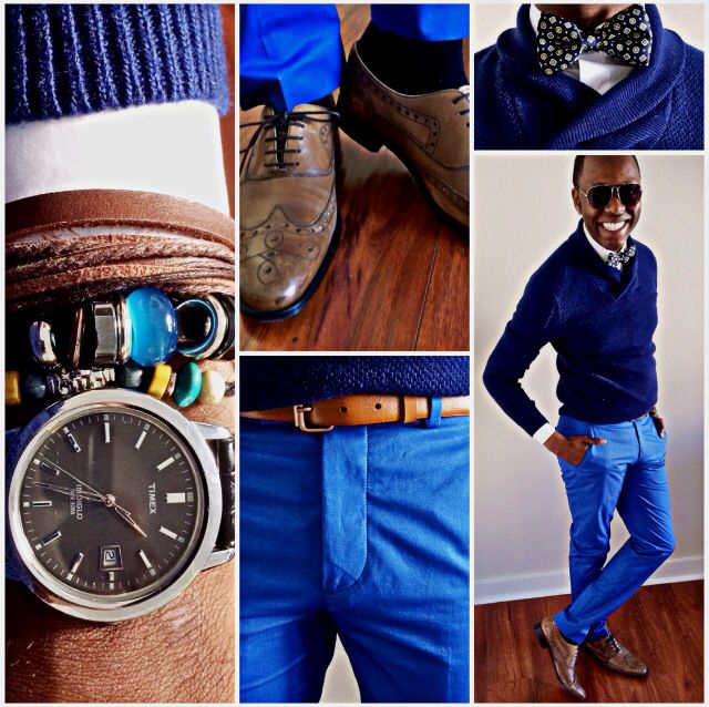 """""""Mer en Bleu""""  Lambswool Sweater - @James Richter  Dress Shirt - @Gap  Bow Tie - @James Richter  Leather Belt - @Zara_Worldwide   Slim Chinos - @Cameron Fredrickson  Oxford WingTips - @HUGO BOSS  Time Piece - @Timex"""