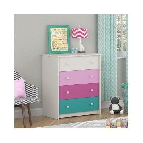 4 Drawer Dresser Kids Furniture Bedroom Storage Organizer Girls Colorful Child Dorel Modern Idees Epiplwn Bammena Epipla