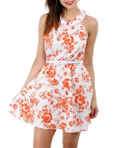 white/orange hawaiian floral sleeveless peter pan collared dress with cinched waist and button-up back with belt